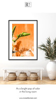 Banana Leaves and Orange Wall - France photography art print by Cattie Coyle