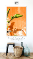 Banana Leaves and Orange Wall - Large photography art print by Cattie Coyle