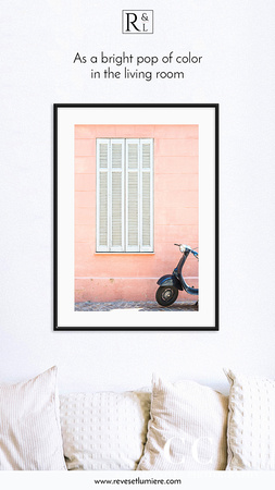 Pink wall and Scooter - France travel photography framed art print by Cattie Coyle
